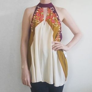 NWT Free People High Neck Flowy Floral Tank Top